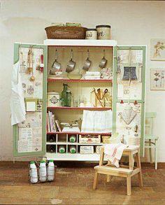 Old Armoire Repurposed Into Kitchen Storage