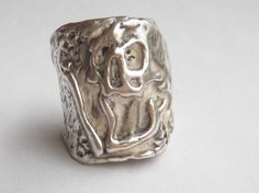 Mens Sterling Silver Plague Skull with Bone Ring - Lugdun Artisans by MMS Artisan Designs