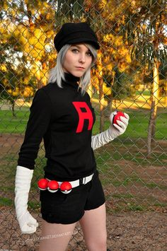 Pokemon Rocket Grunt Cosplay. I know what I'm gonna be for halloween! Omg this should be my next Pokemon cosplay :)