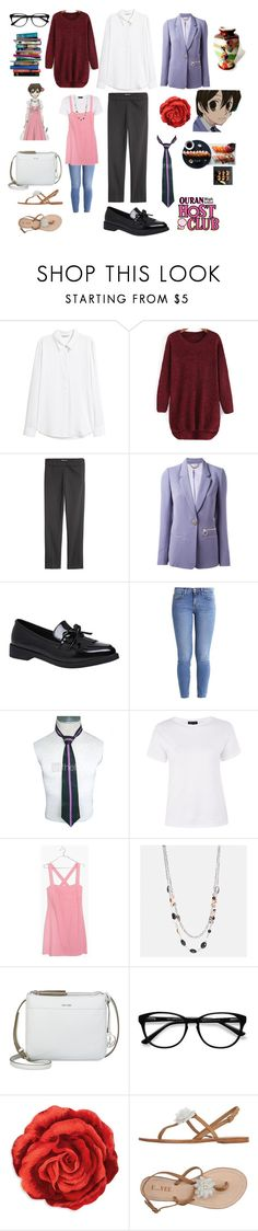 """Haruhi Fujioka"" by chenelle265 ❤ liked on Polyvore featuring H&M, Versace, Current/Elliott, Topshop, Madewell, Avenue, Nine West, EyeBuyDirect.com, 7 For All Mankind and Grandin Road"