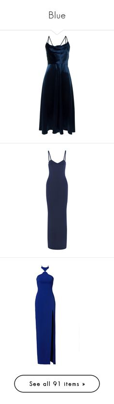 """Blue"" by maedairgaefh ❤ liked on Polyvore featuring dresses, valentino, blue, a line dress, a line silhouette dress, blue spaghetti strap dress, valentino dress, blue velvet dress, long dresses and navy"
