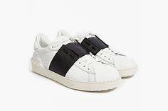 VALENTINO Color Block Stripe Leather Sneaker