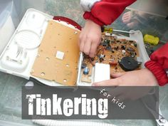 Tinkering for kids: Kids taking apart a waffle iron.