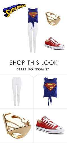 """""""Superman Life"""" by rmensah on Polyvore featuring Topshop, Noir and Converse"""