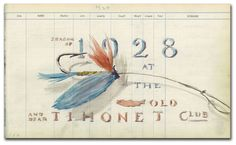 One of the many drawings and paintings Frank W. Benson created in the Tihonet Club logbook. The Tihonet Club, based in Wareham, Massachusetts, donated its annual logbooks to the Museum in 2006. From the collection of the American Museum of Fly Fishing.