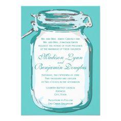 Aqua Teal Blue Mason Jar Rustic Wedding Invitations