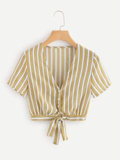 Casual Button and Knot Striped Top Slim Fit Deep V Neck Short Sleeve Regular Sleeve Placket Yellow Crop Length Striped Knot Hem Crop Top Cropped Tops, Crop Tops Online, Summer Blouses, Yellow Fashion, Striped Fabrics, Types Of Sleeves, Sleeve Styles, Fashion News, Couture