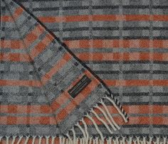 Orange and grey lambswool blanket throw - 'Dukagang' stripe  handwoven by Madeleine Jude