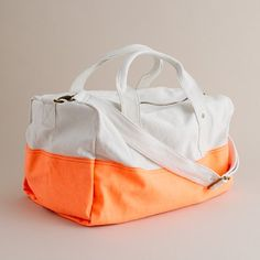 canvas overnight bag in neon orange