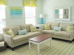 aqua and lime family room