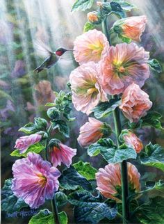'After The Rain' (delightful painting of hollyhocks)...
