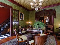 Green Victorian dining room                                                                                                                                                                                 More