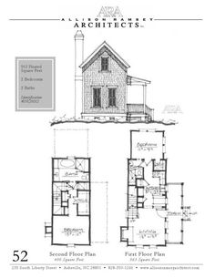 """This plan is 963 Heated Square Feet, 2 Bedrooms and 2 Bathrooms. The master bedroom is on the main floor. The dimensions are 22'-4"""" x 41'-8"""" via Allison Ramsey Architects"""