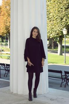 black dress from Zara - Look Style Award - Elena Sarah Autumn Winter Fashion, Fall Winter, Zara Looks, Winter Stil, Big Party, Winter Looks, Fashion Bloggers, Look Fashion, I Dress
