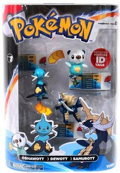 Pokemon TOMY Basic Figure Evolution 3-Pack Oshawott, Dewott & Samurott by Tomy. $15.99. Let the evolution begin. Pick your favorite Pok mon and capture each stage of the metamorphosis. Each pack contains three, 2 inch PVC figures with accurate coloration and fine detail showing your Pok mon across three evolutionary stages. As your Pok mon's power increases, track it's changing height, weight, and type with three included Pok dex ID Tags.