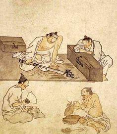 (Korea) Painting of tobacco-cutting, by Danwon Kim Hong-do ca century CE. Korean Art, Asian Art, Korean Traditional, Traditional Art, Figure Painting, Ink Painting, Korean Picture, Asian Sculptures, Vietnam