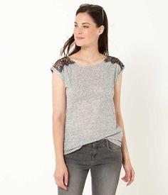 T-shirt femme dentelle contrastante