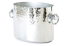 Hammered Champagne Oval Bucket, Silver Mauviel