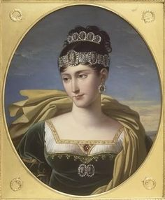 Empress Josephine - green velvet and white muslin dress with cameo belt of her and Napoleon in the cameos, diamond and cameo crown and tiara hair comb.
