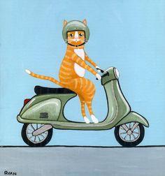 Tabby on a Vespa Original Cat Folk Art Painting by KilkennycatArt, $48.00