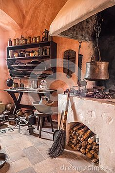 Photo about Historic kitchen in old castle. Image of peasant, herbs, cauldron - 68220255 Old Kitchen, Kitchen Photos, Cauldron, Castle, Europe, Herbs, Stock Photos, Image, Kitchen Pictures