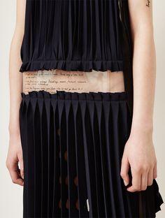 Black pleated top & skirt with raw edges; deconstruction; sewing; fashion design detail // Ph. Takanori Okuwaki
