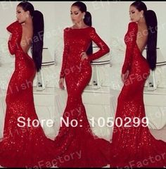 2014 Hot Sale Floor Length High Neck Backless Eveing Gowns Sexy Mermaid Red Sequin Long Sleeve Prom Dresses US $179.00