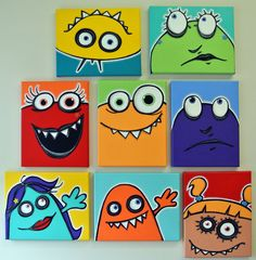 aNOThER WaLL fULL oF UgLiEs - set of 8 8x10 original paintings on multiple canvases for kids room or nursery, monster art, monster paintings