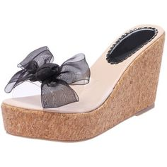 c78a7c2c2b9 Black Transparent With Bow Wedges Sandals