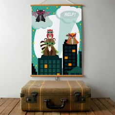 Poster Woodland Superheroes A2, super cool animal superheroes protecting the city. A perfect kidsroom poster for your little hero, designed by Oktoberdots