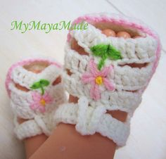 Pink Flower Crochet Baby Sandals  Size from 012 mos by mymayamade, $17.99