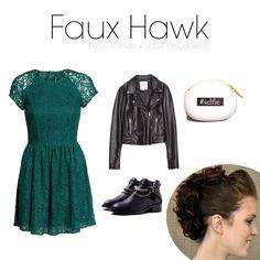 FAUX HAWK Un look rockero que combina verdes con negros. El vestido puede llegar a ser un fondo de armario que sirve para muchas ocasiones, y podrás darle ese toque rockero con una chupa de cuero negra. Para el peinado, te proponemos esta falsa cresta súper sencilla de realizar. ¿Te animas?