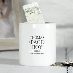 Personalised Money Box For Page Boys Mr And Mrs Range Engraved Wedding Gifts