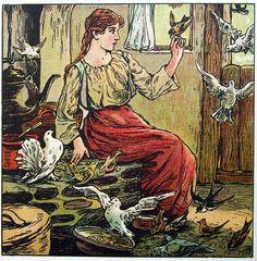"""""""Aschenputtel (Cinderella)"""" illustration by Maria Hohneck, from """"Goldenes Märchenbuch"""" (1905)"""