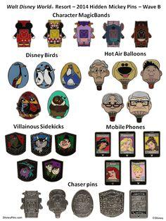 Disney World 2014 Hidden Mickey Pins - Wave B