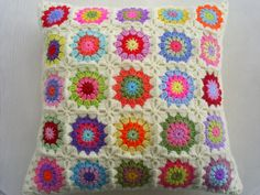 25 colors in cream granny sqaure cushion cover by handmadebyria, $40.00