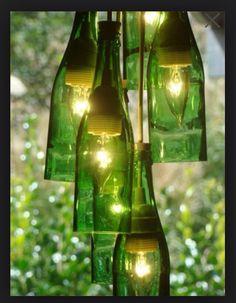Wine bottle lights #upcycle