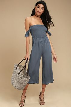 Lulus Exclusive! The living is easy in the Willa Denim Blue Off-the-Shoulder Midi Jumpsuit! Lightweight woven rayon shapes ruffled off-the-shoulder straps, a smocked bodice, and wide-leg culotte pants.