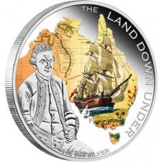 2013 Land Down Under Captain Cook Silver Proof Coin. Cook's place in Australian history cannot be underestimated. On his first voyage alone, he charted thousands of miles of Australia's coastline with astonishing accuracy. Bullion Coins, Silver Bullion, Mint Coins, Silver Coins, Old Musical Instruments, Captain James Cook, Didgeridoo, Map Outline, Proof Coins