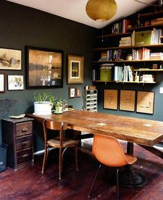 The Mister is leaning toward a more earthy, warm, masculine looking man cave/office. I like this.