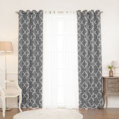 Best Home Fashion Mix and Match Tulle Sheer Lace and Room Darkening Moroccan Print 4 Piece Curtain Set – Antique Bronze Grommet Top – Grey – 52″W x 84″L – (Set of 4 Panels)