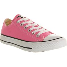 CONVERSE All Star low-top trainers ($7.04) ❤ liked on Polyvore featuring shoes, sneakers, pink canvas, laced sneakers, lace up sneakers, pink canvas shoes, low top and rubber sole shoes