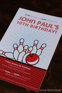 It's a bowling birthday party!  Strike is big with a fun bowling theme.  #Invitations