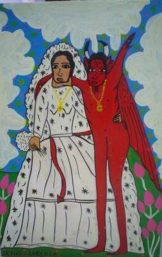 Mexican Retablo Bride Devil Marrying