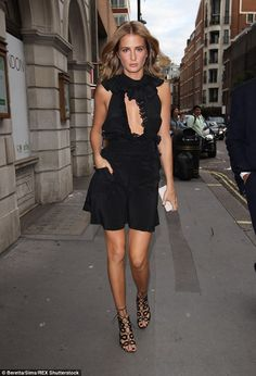 Millie Mackintosh in a LBD as she arrived at the PPQ London Fashion Week show on September 18, 2015 #LFW #SS16