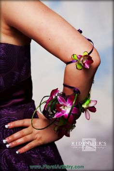 This corsage starts at the wrist and wraps up the arm. What a unique, gorgeous look for Prom!!
