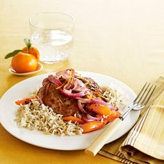 Pork with Orange Sauce, Carrots & Rice