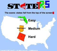 FREE ONLINE RESOURCE~ Statetris is an interesting game mixing aspects of the popular game 'Tetris' and geography. Instead of positioning the typical Tetris blocks, you position states/countries at their proper location. Games for Brazil, Africa, Europe, Japan, and more, are also available!