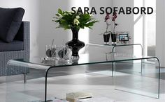 sara sofabord Furniture, Interior, Home, Side Table, Table, Glass Table, Console Table, Curved Glass, Coffee Table