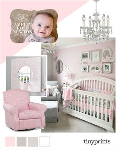 This baby nursery is pretty and romantic in shades of soft pink, gray, and white. With a crystal chandelier, and vintage inspired accents, this is the perfect feminine nursery for your little princess.